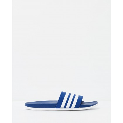 Adilette Cloudfoam Plus Stripes Slides - Men's Collegiate Royal & White by Adidas Performance