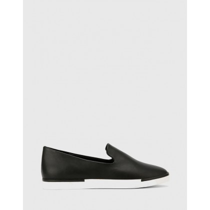 Adrian Slip On Flat Loafers Black by Wittner