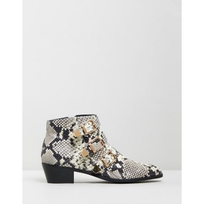 Ainslee Leather Ankle Boots Snakeskin Leather by Atmos&Here