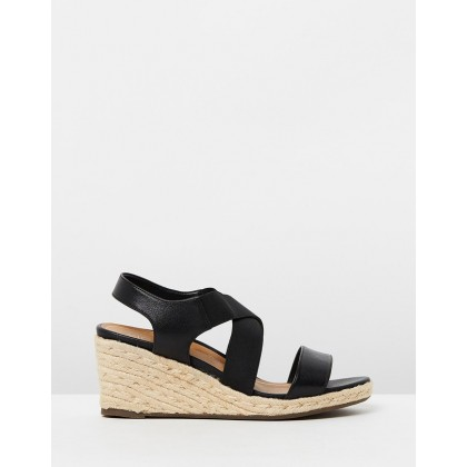 Ainsleigh Wedge Sandals Black by Vionic