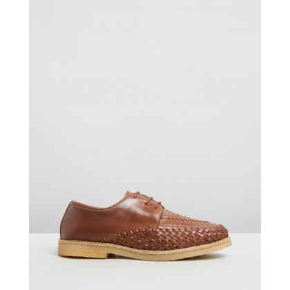 Ainslie Woven Leather Lace-Up Shoes Brown by Double Oak Mills