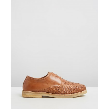 Ainslie Woven Leather Lace-Up Shoes Tan by Double Oak Mills