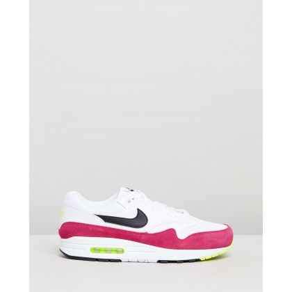 Air Max 1 - Men's White, Black, Volt & Rush Pink by Nike