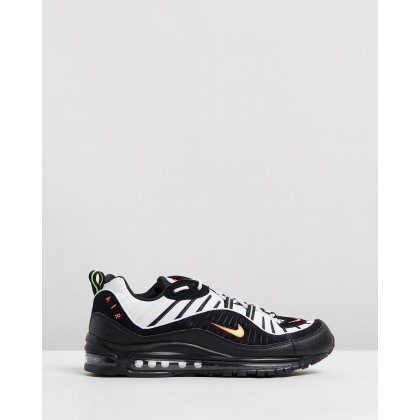 Air Max 98 - Men's Platinum Tint, Black & Electric Green by Nike