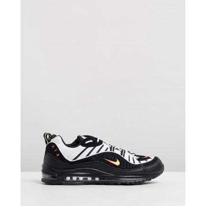 Air Max 98 - Men's Platinum Tint, Black & Electric Green by Nike