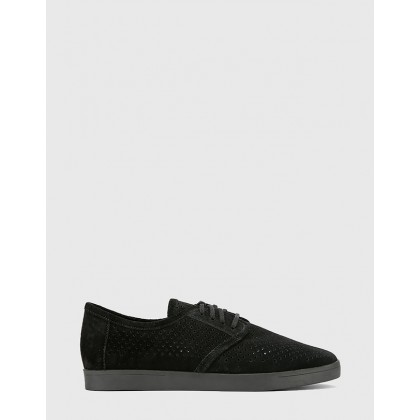 Alara Suede Leather Lace Up Sneakers Black by Wittner