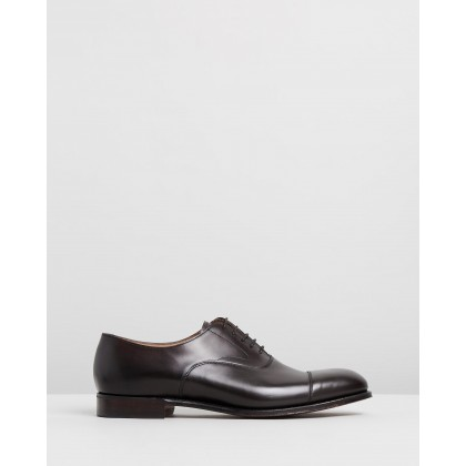 Alfred Capped Oxford Shoes Burnished Mocha Calf Leather by Cheaney