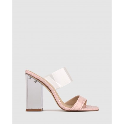 Ali Perspex Heel Mules Blush Clear by Betts