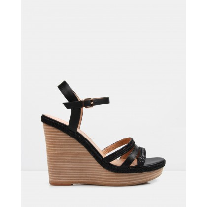 Allegra Wedge Sandals Black Leather by Jo Mercer