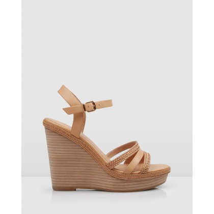 Allegra Wedge Sandals Tan Leather by Jo Mercer