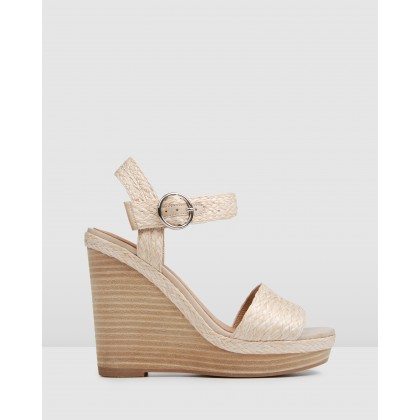 Allude High Wedge Sandals Beige Multi by Jo Mercer