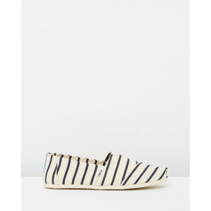 Alpargata White & Navy Riviera Stripe by Toms