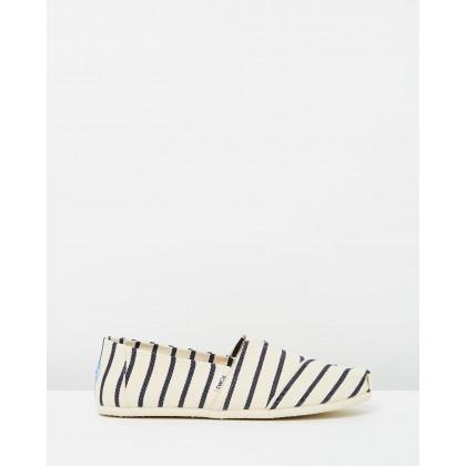 Alpargata White & Navy Riviera Stripe by Toms