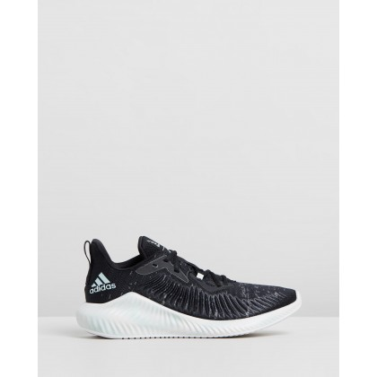 Alphabounce+ X Parley - Women's Core Black, Linen Green & Footwear White by Adidas Performance