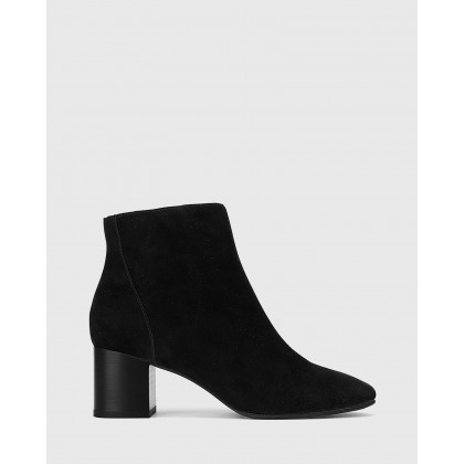 Alsen Block Heel Almond Toe Ankle Boots Black by Wittner