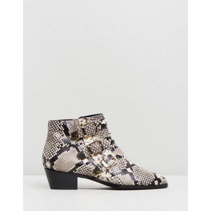 Alycia Leather Ankle Boots Snakeskin Leather by Atmos&Here