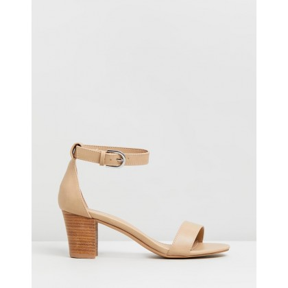 Ameli Block Heels Nude Stack by Spurr