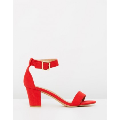 Amelia Block Heels Red Microsuede by Spurr