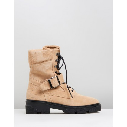 America Flat Biker Boots Nude by Topshop