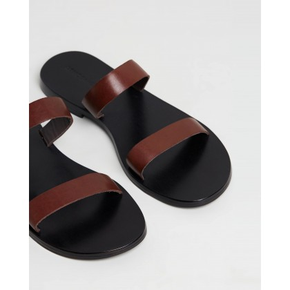 Amy Leather Slides Choc Leather by Atmos&Here