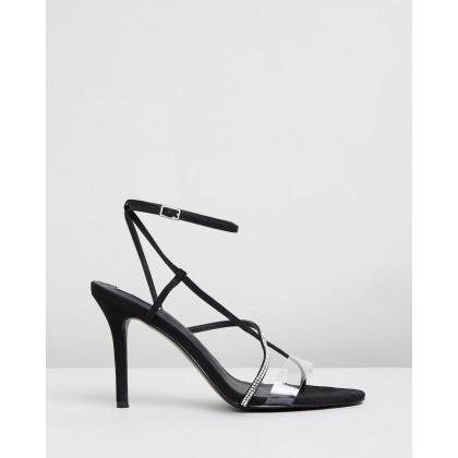 Angelina Heels Black Microsuede by Dazie