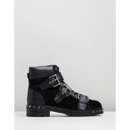 Animal Hiker Boots Black by Topshop