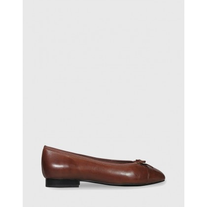 Annie Bow Detail Round Toe Ballet Flats Brown by Wittner