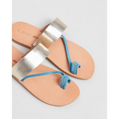 Aphrodite Sandals Teal & Gold by Ammos