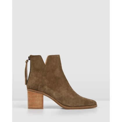 Arena Ankle Boots Khaki Suede by Jo Mercer