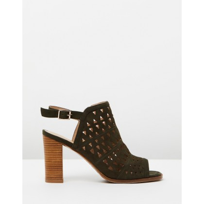 Aries Laser Cut High Sandals Olive Suede by Jo Mercer