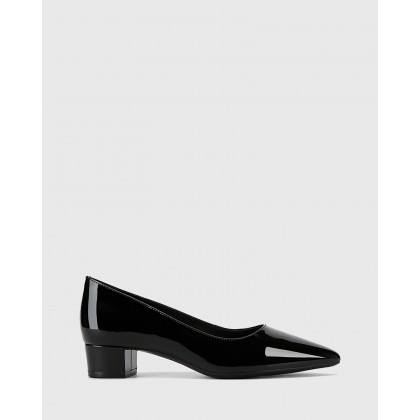 Armin Patent Leather Block Heels Black by Wittner