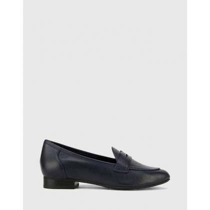 Austin Leather Almond Toe Flat Penny Loafers Black by Wittner