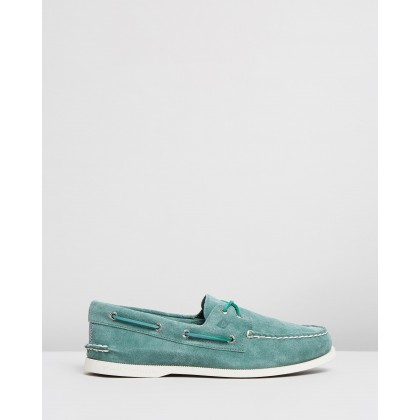 Authentic Original 2-Eye Summer Suede Boat Shoes Green by Sperry