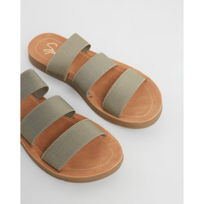 Avar Slides Khaki Elastic by Spurr
