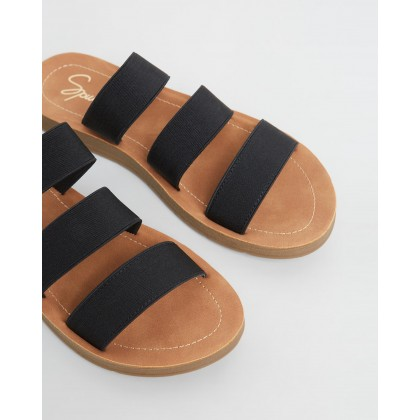 Avar Slides Black Elastic by Spurr