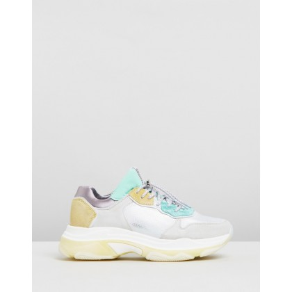 Baisley Leather Sneakers Off White, Turquoise & Yellow by Bronx