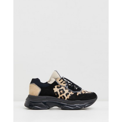 Baisley Leather Sneakers Black, Leopard & Cappuccino by Bronx