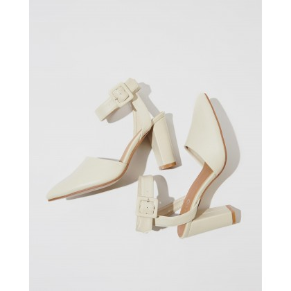 Baker Buckle Heels Stone Smooth by Rubi