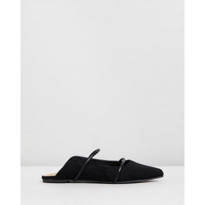 Bale Mules Black Microsuede & Black Snake by Spurr