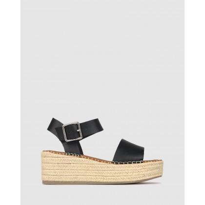 Bali Rope Flatform Sandals Black by Betts