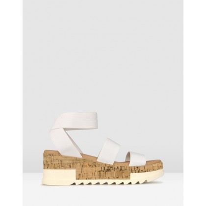 Bandit Cork Wedge Sandals White by Betts