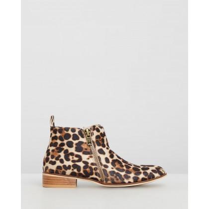 Banik Beige Leopard Faux Suede by Ko Fashion