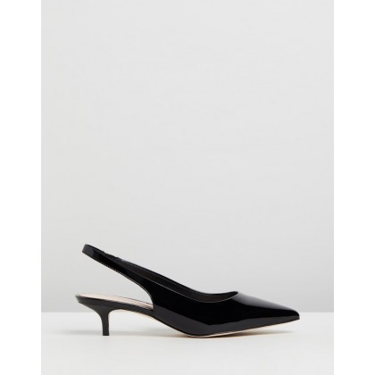 Barlow Leather Kitten Heels Black Patent Leather by Atmos&Here