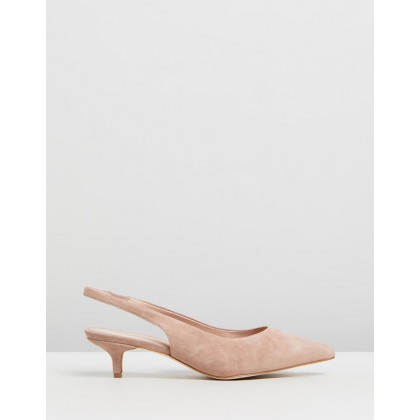 Barlow Leather Kitten Heels Dusty Pink Suede by Atmos&Here