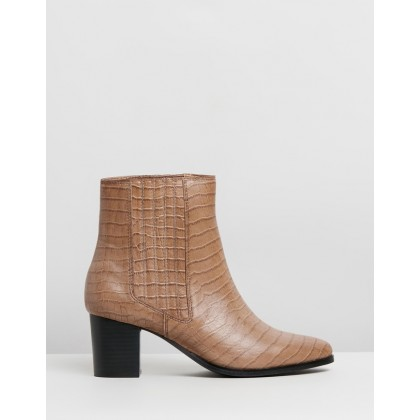 Basia Leather Ankle Boots Tan Croc by Atmos&Here
