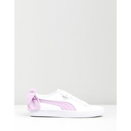 Basket Suede Bow - Women's Puma White & Winsome Orchid by Puma