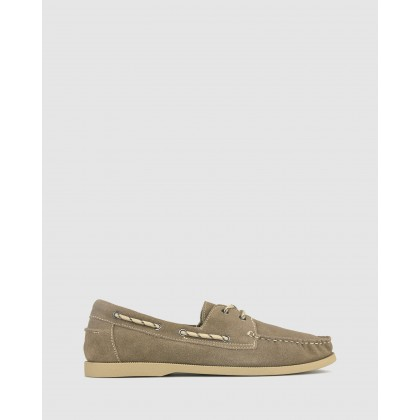 Beachy Suede Leather Boat Shoes Taupe by Zu