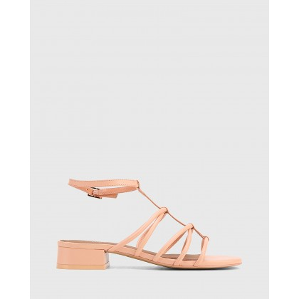 Beckie Leather Open Toe Block Heel Flat Sandals Pink by Wittner