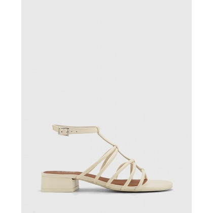Beckie Leather Open Toe Block Heel Flat Sandals Beige by Wittner