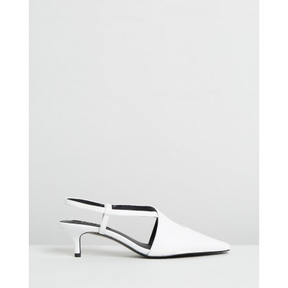 Bel Heel Leather Shoes White by M.N.G